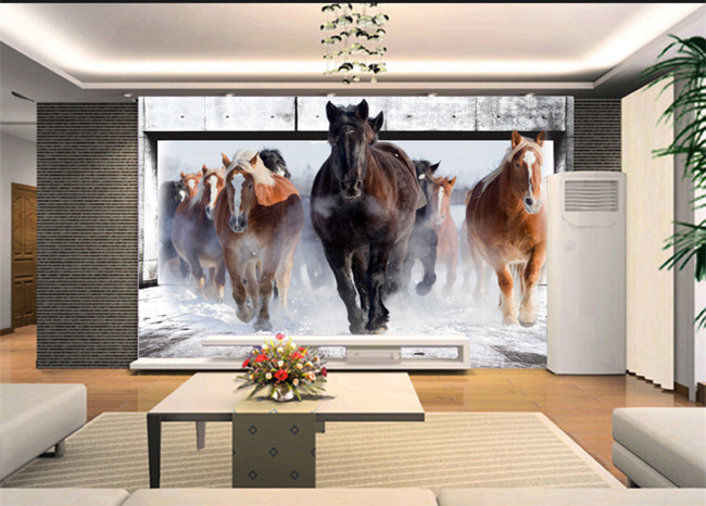 beibehang Running horse contact paper 3D wall mural wallpapers for bedroom  wall paper painting colorful custom photo wallpaper in Wallpapers from Home. beibehang Running horse contact paper 3D wall mural wallpapers for