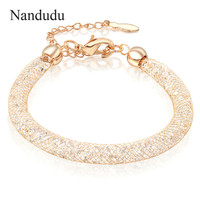 Nandudu Rose Gold Plated Bracelet New Arrival Women Girl Female Bangle Mesh Tube Crystal Fashion Bracelets