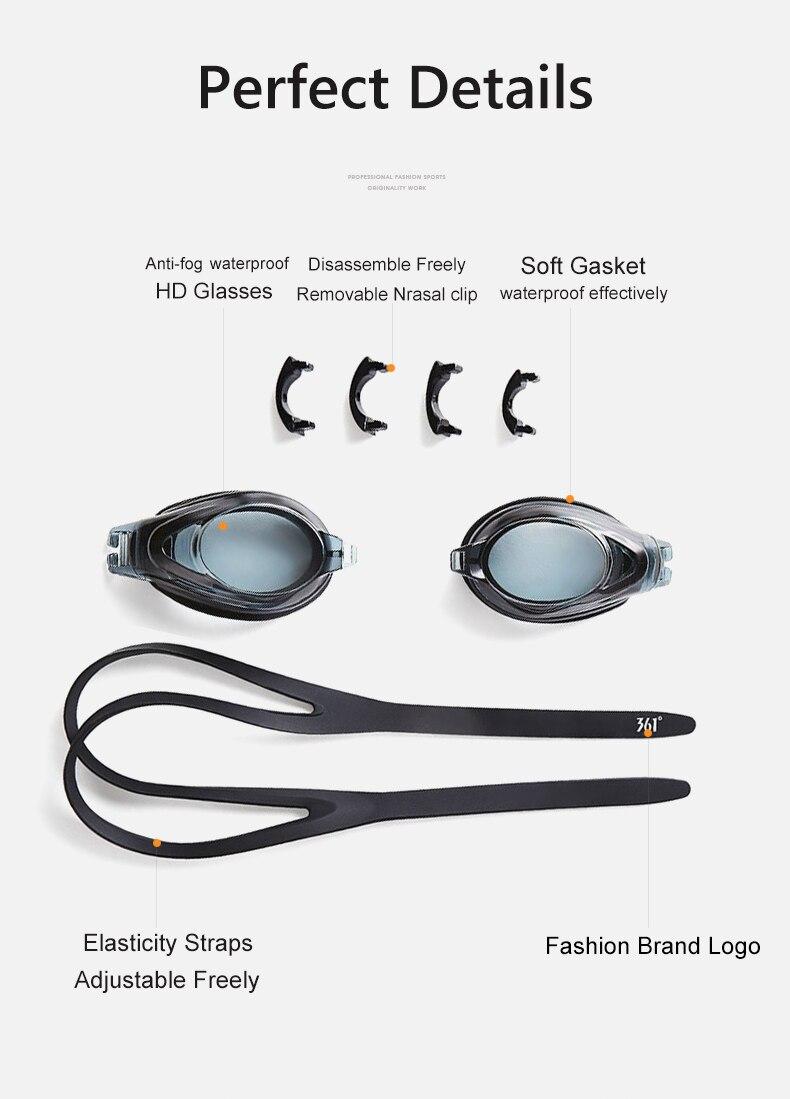 Unisex Professional Myopia Silicone Swimming Pool Glasses Anti Fog Waterproof 11