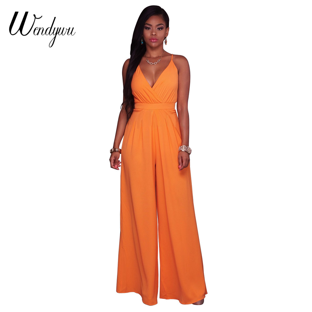 Wendywu Wide Leg Elegant Deep V-Neck Spaghetti Strap Overalls Orange Long   Jumpsuit   for Women