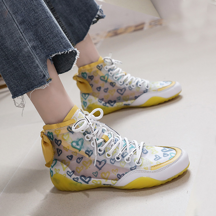 2019 Autumn Vulcanize Female Fashion Sneakers Lace Up Soft High Leisure Footwears Love Breathable Mesh Women Casual Shoes 41