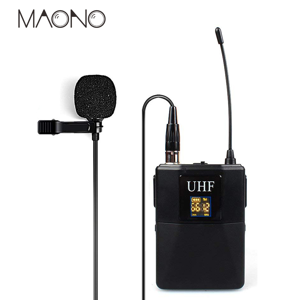 MAONO Wireless Lavalier professional condenser studio Microphone bm800 UHF Omnidirectional Selectable Channel Lapel Mic bm 800 heat live broadcast sound card professional bm 700 condenser mic with webcam package karaoke microphone
