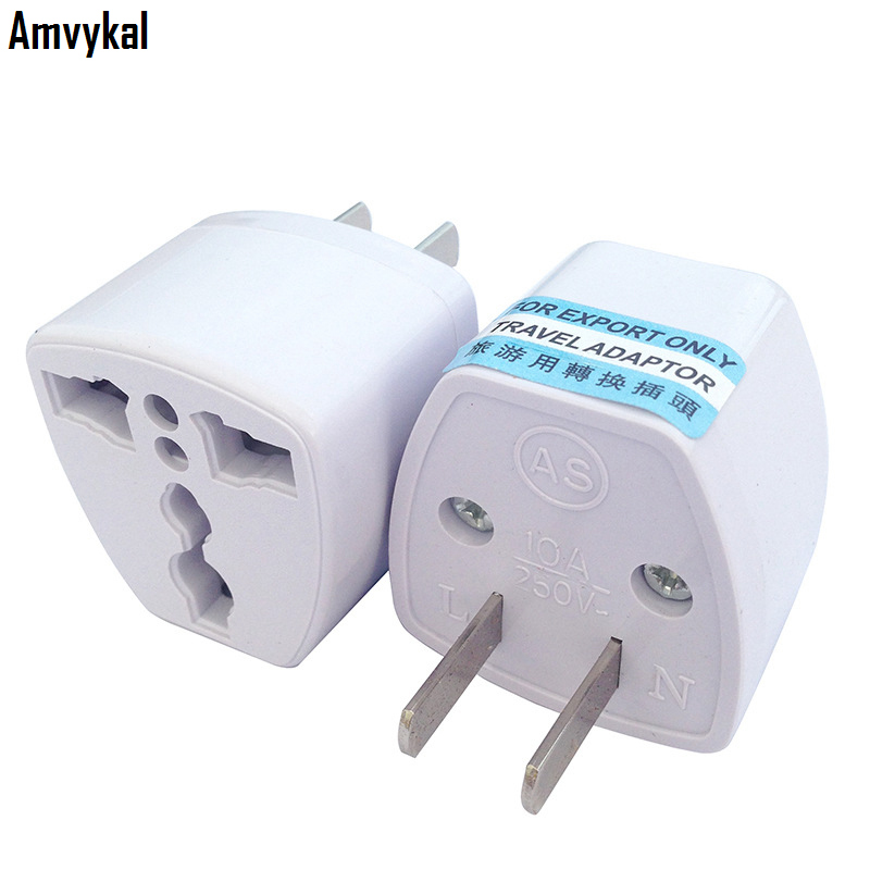 Amvykal Universal 2 Pins USA Travel Electrical Plug UK/AU/EU To US Plug Adapter Socket Converter White 500 Pcs/lot