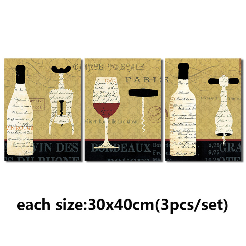 Fashion poster letter Paris 3pcs living room Decoration Red wine ...
