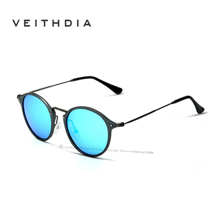 Image 3 - VEITHDIA Fashion vintage Unisex Aviation Aluminum Round Polarized SunGlasses Men Women brand designer Sun glasses Eyewear 6358