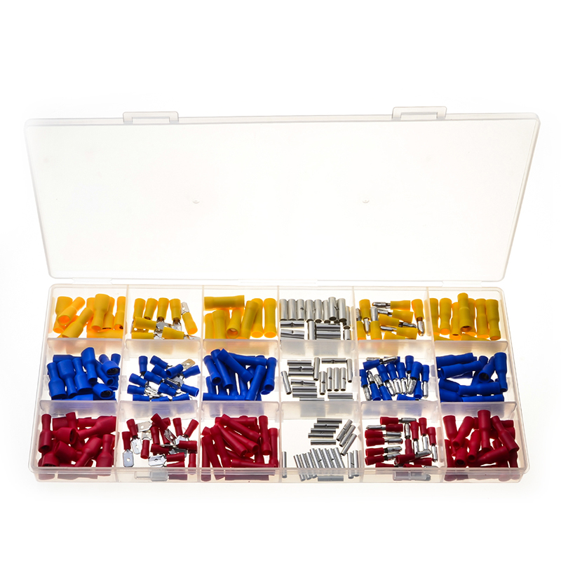260Pcs/Lot Assorted Male/Female Insulated Waterproof Cold-Pressed Butt Splice Wire Terminals Connectors Kit with Box 305pcs insulated 22 10awg terminals cold pressed wire connectors