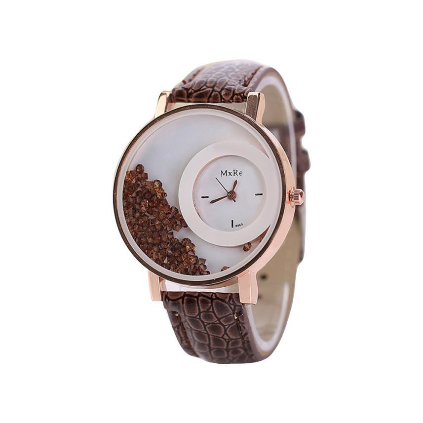 Femmes montres dames en cuir Quartz montres Quicksand strass Bracelet montre-Bracelet relogios feminino montre femme # D 3