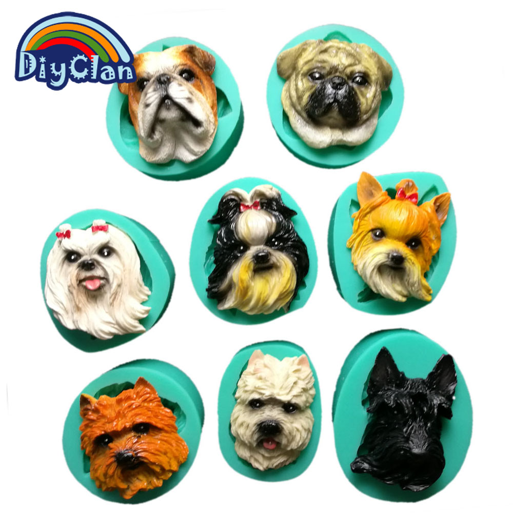 Puppy dog Breed face silicone cake decoration mold animal cupcake making modeling chocolate resin sugarcraft polymer clay mould ...