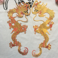 2 Pieces Dragon Patches for Clothing Gum IRON ON/SEW ON Stickers Lace Applique Silk Yarn Parches Embroidery Patch Lace Trim