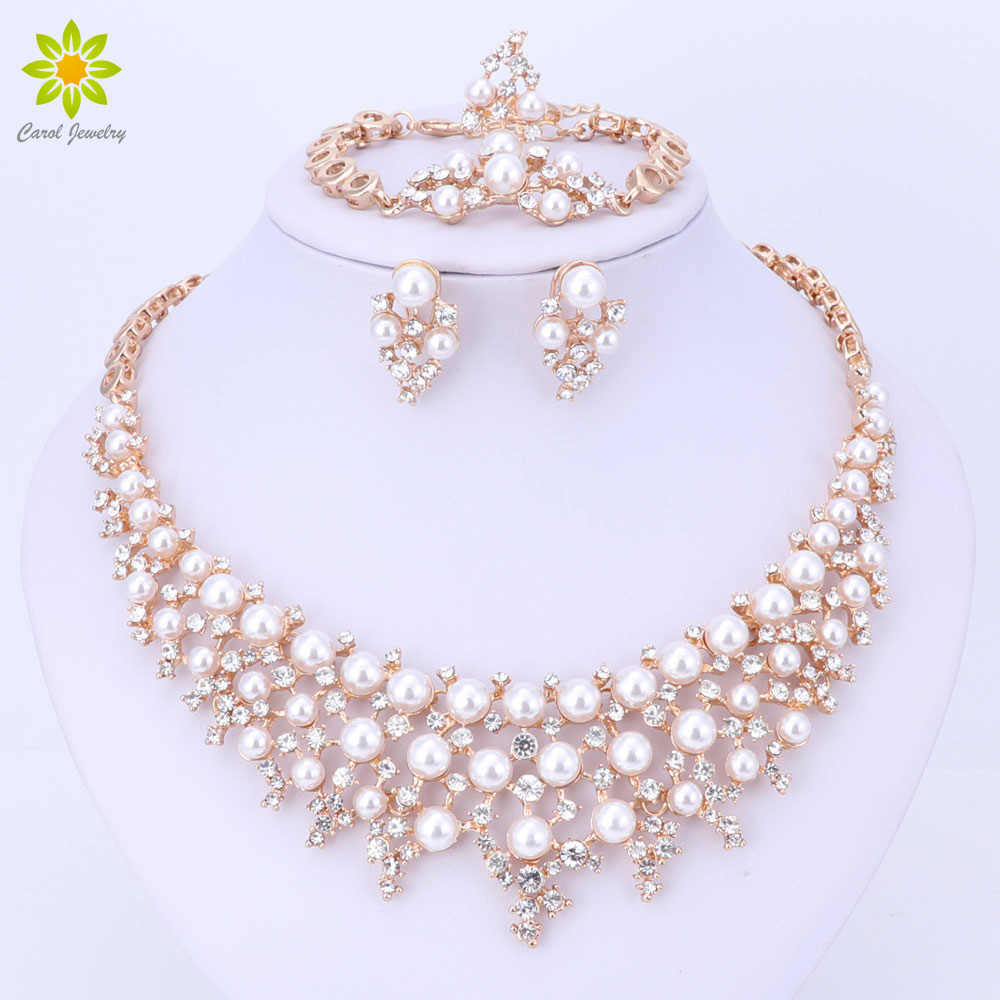 Gold Color Simulated Pearl Crystal Jewelry Sets Vintage Fashion Necklaces For Women Wedding Accessories