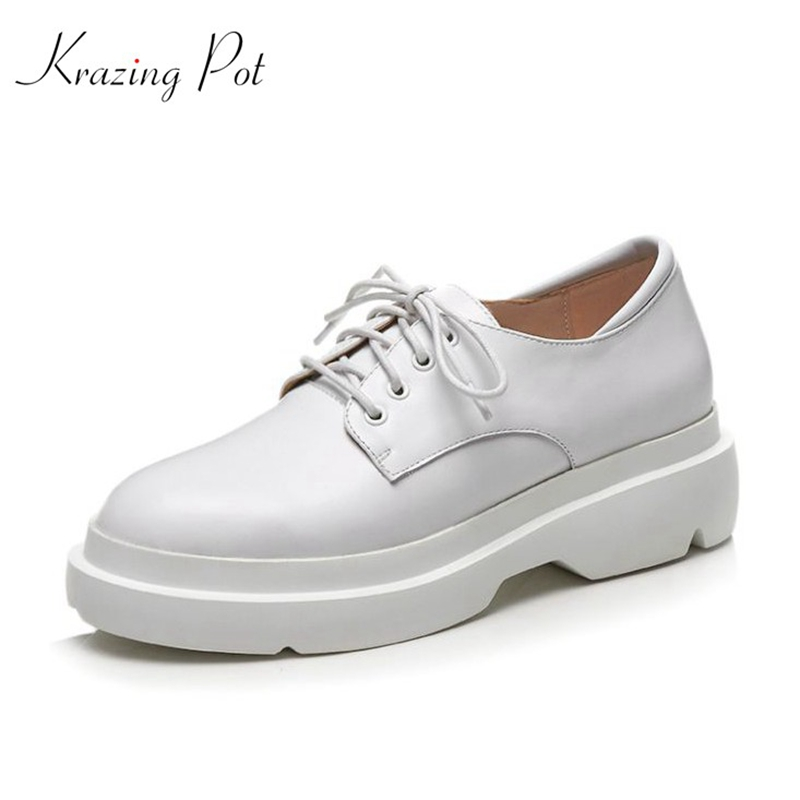 New retro vintage fashion women brand shoes spring med heels genuine leather lace up women pumps simple style shoes L5f1