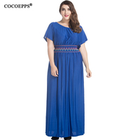 COCOEPPS 2017 Women Summer Chiffon Dress O Neck Short Sleeve Blue Chiffon Women Dress Plus Size
