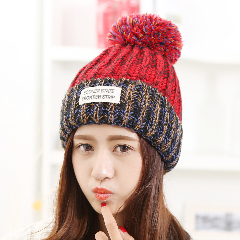 Skullies & Beanies Beanies Knit Hat Female Cap Winter Hat For Women Beanie Headgear Warm pom pom hat winter hats for women skullies