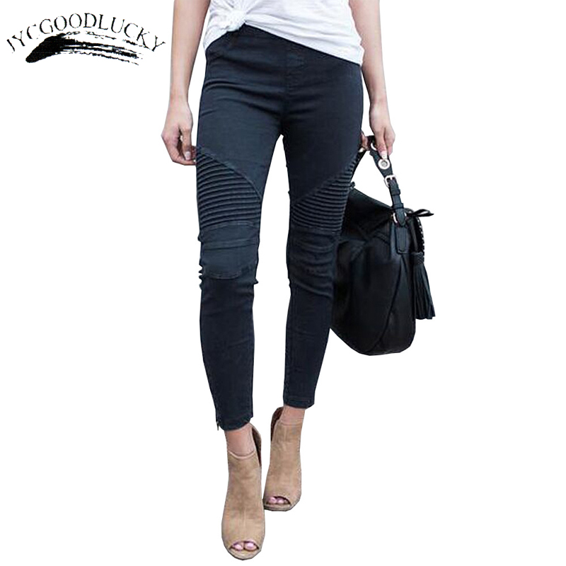 Pleated Skinny Jeans Woman Fashion Slim Strong Elastic Women's Jeans Pants Ladies All Matches White Jeans Trousers For Women Jeans Women Bottom ! Plus Size Women's Clothing & Accessories