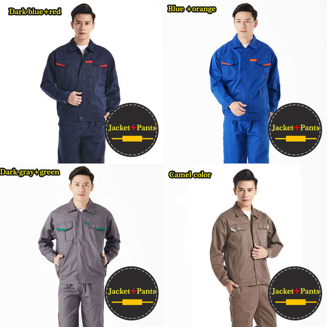 Men Women Work Clothes Workwear Sets Jacket Pants Auto Repair Working clothing Long Sleeve Wear-resistant Set Factory Uniforms  1