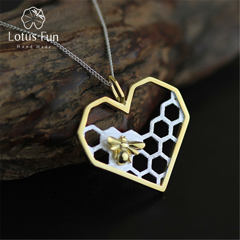Lotus Fun Real 925 Sterling Silver Handmade Fine Jewelry Honeycomb Home Guard Love Heart Shape Pendant