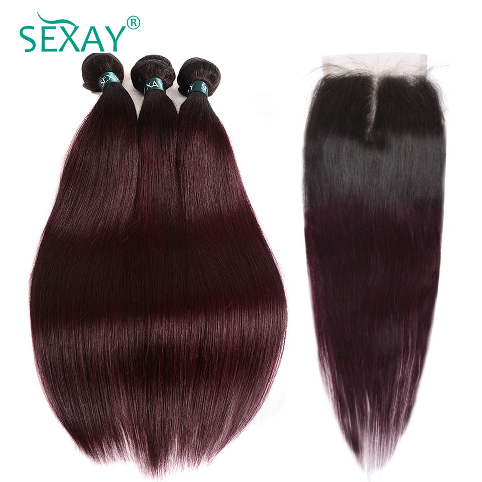 Sexay Pre-Colored 1B 99J Burgundy Human Hair 4 Bundles With Closure Remy Brazilian Straight Hair Ombre Hair Bundles With Closure
