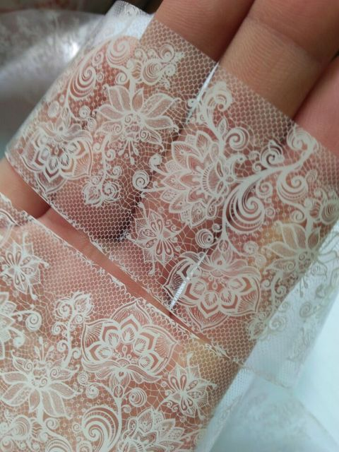 20cm black and white Lace nail sticker transfer sticker nail art Foil Stickers Flower Nail art Tool