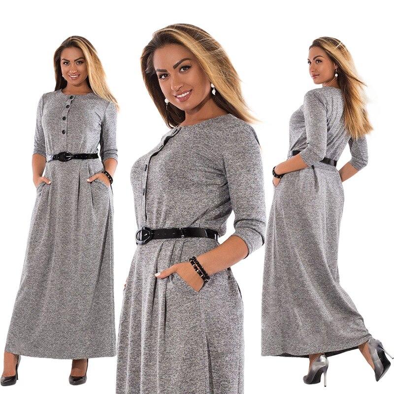 US $14.56 30% OFF 6XL Plus Size Dress Women Autumn Winter Clothes Cotton  Office Work Maxi Long Dresses Vestidos Party Elegant Button Dress Belt-in  ...