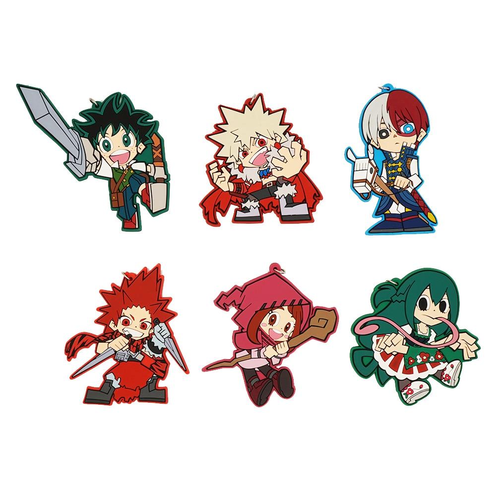 My Hero Academia Anime Boku no Hero Academia Izuku Midoriya Katsuki Bakugo Todoroki Eijiro Uraraka Rubber Strap Keychain все цены