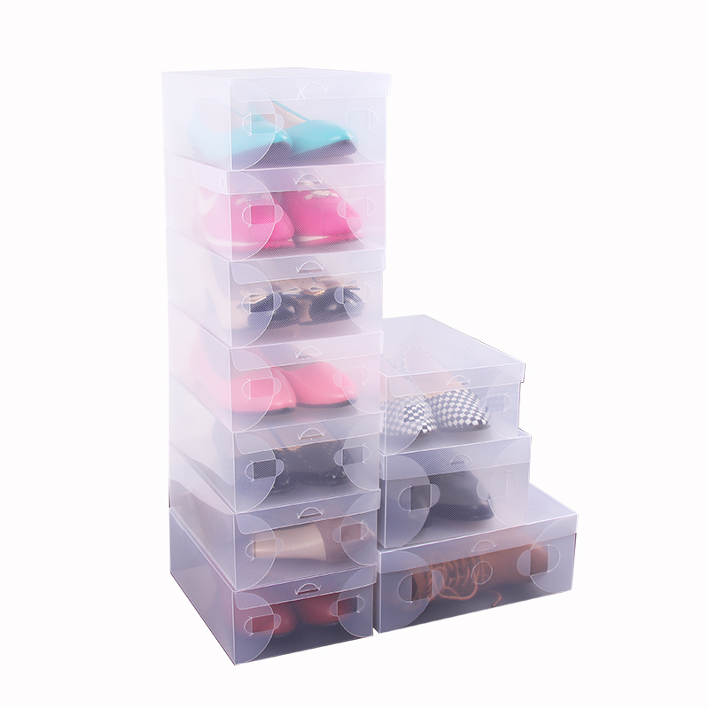 10x transparent clear plastic shoe boxes stackable foldable organizer box bulk in storage boxes. Black Bedroom Furniture Sets. Home Design Ideas