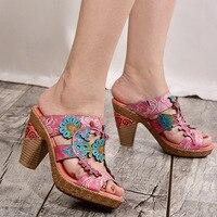 2019 Summer Platform Flip Flops Fashion Beach Shoes Woman Anti slip Genuine Leather Sandals Women Slippers Shoe