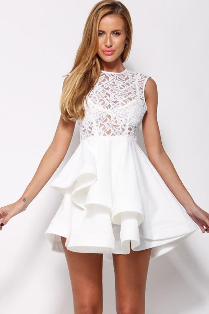 Short White Dress with Ruffles