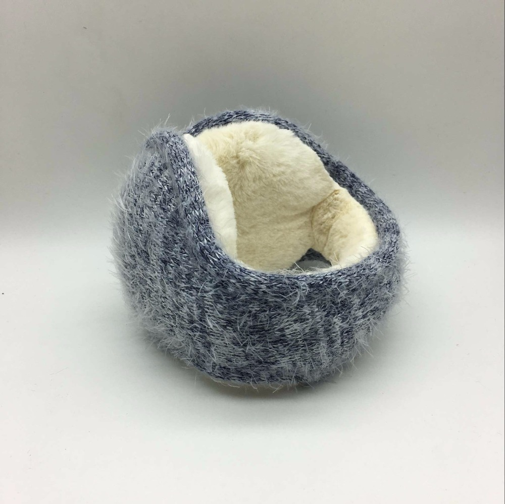 Winter Latest Knitted Rabbit Wool With Folding Earmuffs Man And Women Warm Fashion Ear Warmer Earfalp