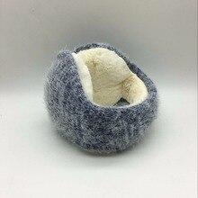 Winter latest knitted rabbit wool with folding earmuffs man and women warm fashion ear warmer earfalp