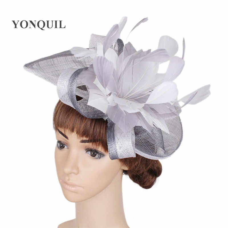 12a021e933cd2 2018 Sinamay Party Fascinator Flower Headdress Grey and White mix colors Bride  Wedding Flower Hat For