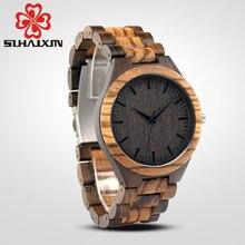 SIHAIXIN wood watches men zebra quartz watch Japan miyota 2035 wooden strap clock man top brand luxury with Gift Box