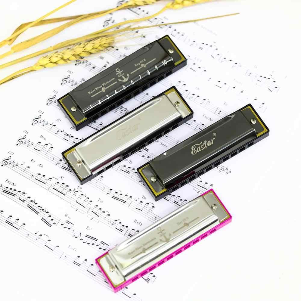 إيستار الكبرى البلوز هارمونيكا دياتونيك C مفتاح القيثارة الفم الجهاز هارمونيكا 10 ثقوب موسيقى الجاز روك وودوويند آلة موسيقية + حافظة جديدة