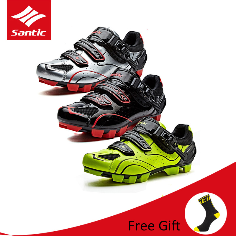 Santic 3 Colors Men MTB Road Bike Cycling Shoes Breathable Mountain Bike Shoes Professional Self-Locking Outdoor Riding Sneakers