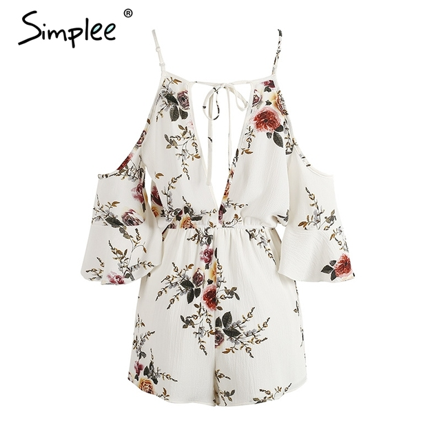 Simplee Cold shoulder ruffles print jumpsuit romper women Strap v neck backless short overalls Summer beach casual playsuit
