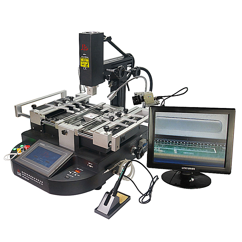 HR560 hot air BGA Rework Station 3 zones lead free solder iron reballing repair machine repair platform hot air gun clamp stand for bga rework reballing station