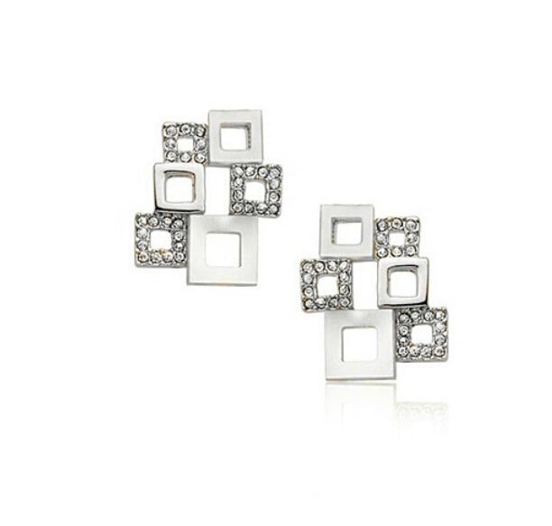 8fc172943dd3 OMH al por mayor comprar 5 pair off20 % de plata blanco 18kt cristales  austríacos de oro blanco de la manera cuarteto rompecabezas Pendientes de  broche ...
