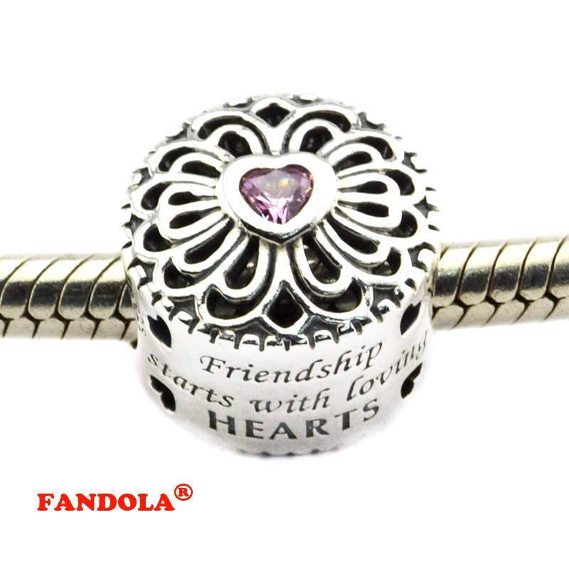 Bracelet à breloques Pandora en argent Sterling 925, perles d'amour et  d'amitié en zircone cubique rose, livraison gratuite