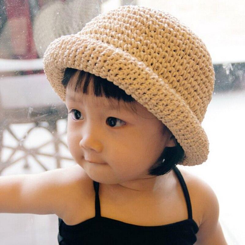 2016 New Baby Girls Hat Hand Made Crochet Hat Summer Beach