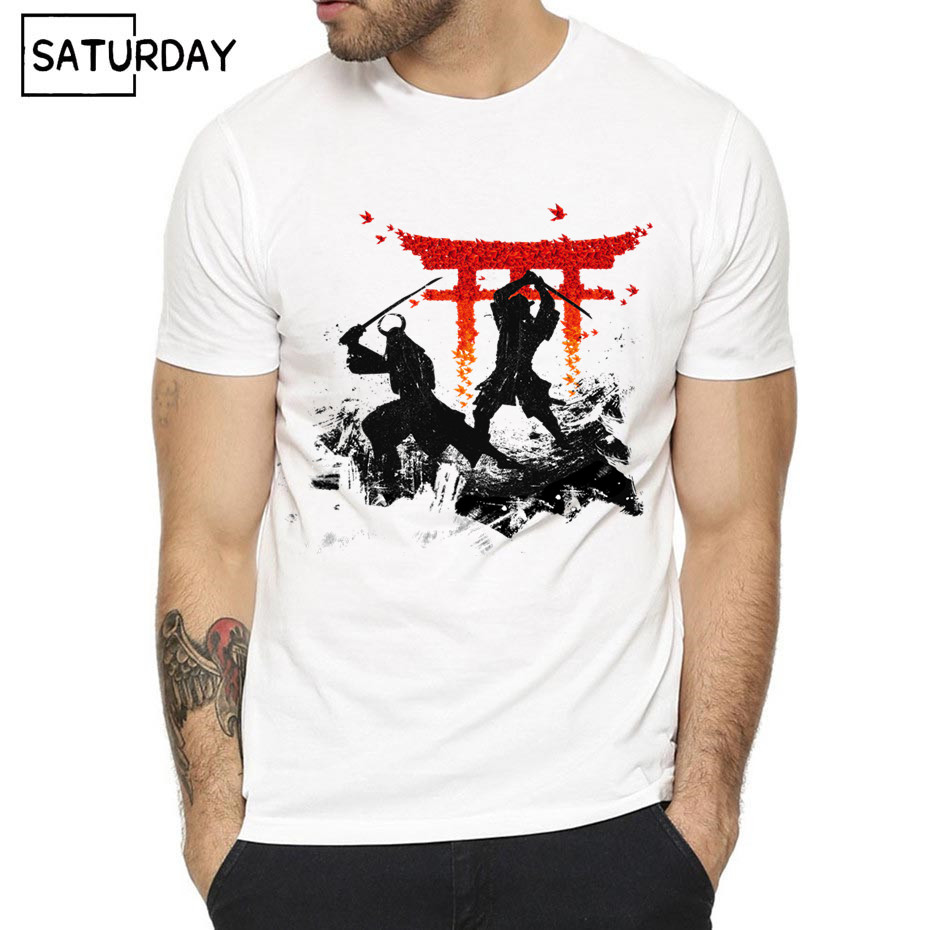 Men Japan Samurai Warrior Print T-shirt Summer Casual Short O-Neck White Hipster Anime Geek T-shirt Unisex Clothes