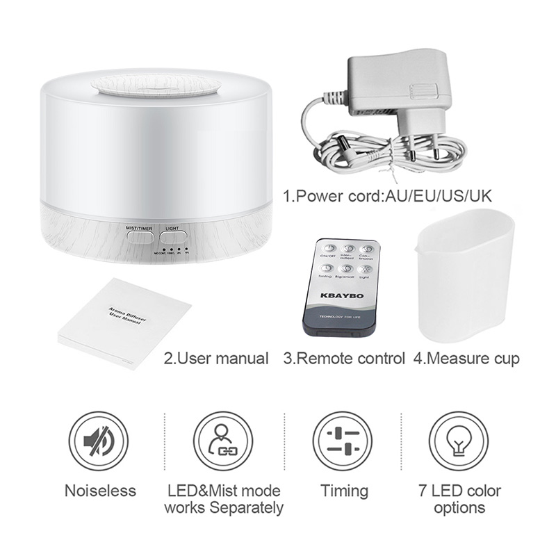 700ml Remote Control Ultrasonic Air Aroma Humidifier white Grain LED Lights Electric Aromatherapy Essential Oil Aroma Diffuser in Humidifiers from Home Appliances