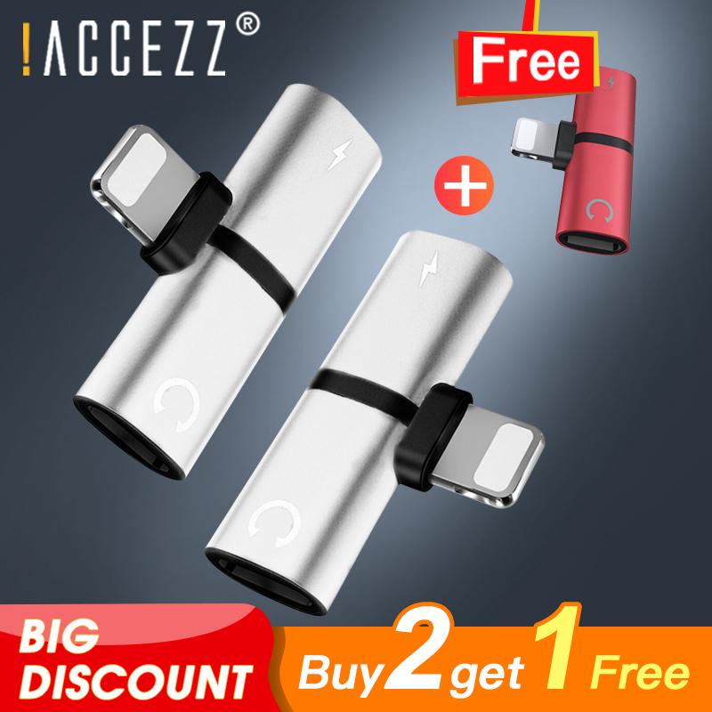 !ACCEZZ Headphone Audio 2 in 1 Adapter Connector Splitter For iphone 7/8Plus X MAX XR Charger Calling Adapter Buy two get one image