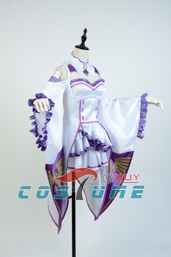 Home Re:zero Life In A Different World From Zero Female Emilia/satella Cosplay Costume Coat+collar+headwear+skirt+stockings Full Set