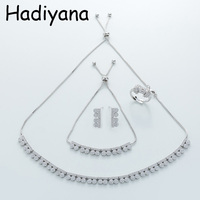 HADIYANA hot sale cubic zirconia necklace ladies jewelry set high quality copper necklace bracelet earrings set TZ8059