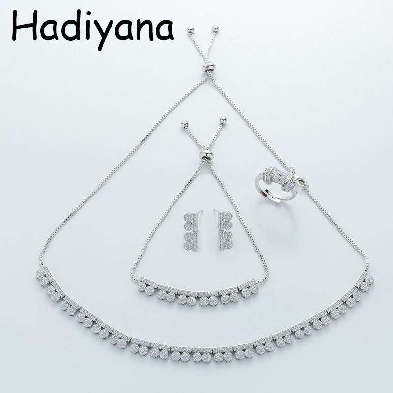 HADIYANA горячая Распродажа ожерелье из кубического циркония Дамский ювелирный набор Высокое качество медное ожерелье браслет серьги набор TZ8059