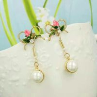 rose pearl stud earring with jewelry box