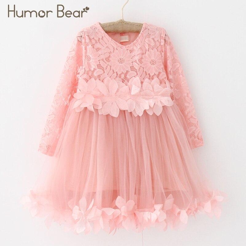 Humor Bear Girls Dress 2018 Summer Brand Kids Dress Lace Style Long Sleeves Princesses Dress Children Clothing Baby Girls Dress pink lace up design cold shoulder long sleeves hoodie dress
