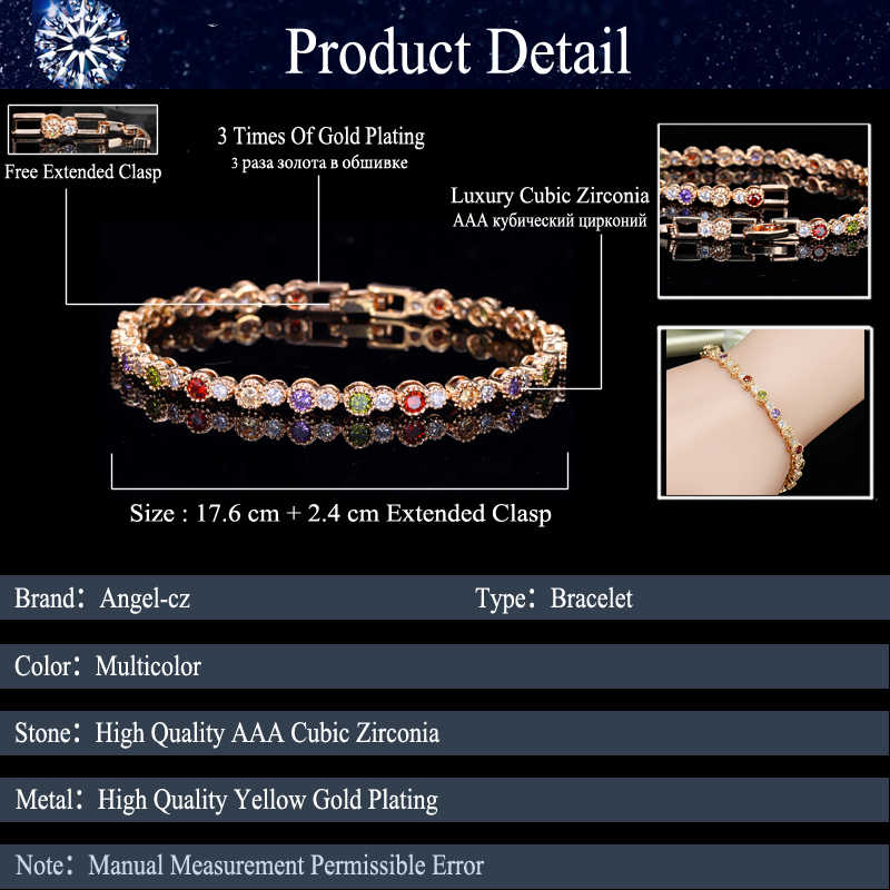 0b53000296f90e ... ANGELCZ Cute Gold Color CZ Jewelry Round Colorful Crystal And Cubic  Zircon Stone Setting Indian Tennis ...
