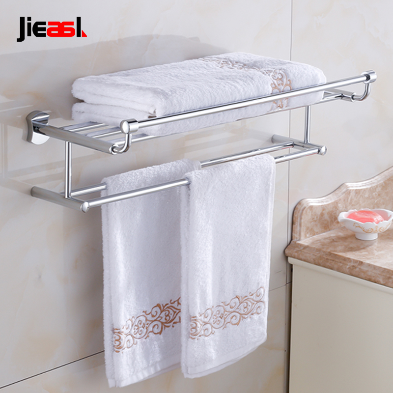 Jieshalang Bras Bathroom Towel Rack Shelf Wall Mounted Racks for ...