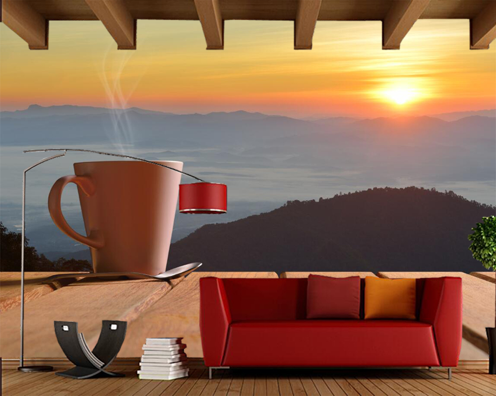 Papel de parede Coffee Morning Mug photo food 3d wallpaper,fast food shop restaurant dining room kitchen coffee shop murals