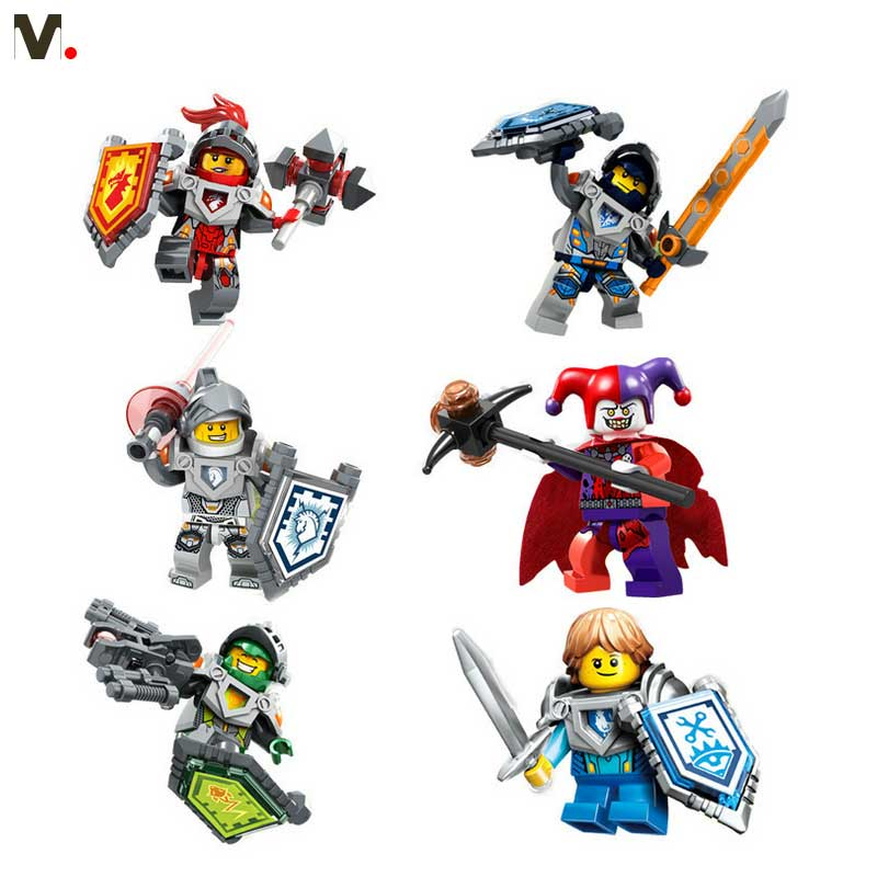 6pcs Lot Element Knight Super Heroes Minifigures DIY Assemble Bricks Building Blocks Kid Toys Gift Educational